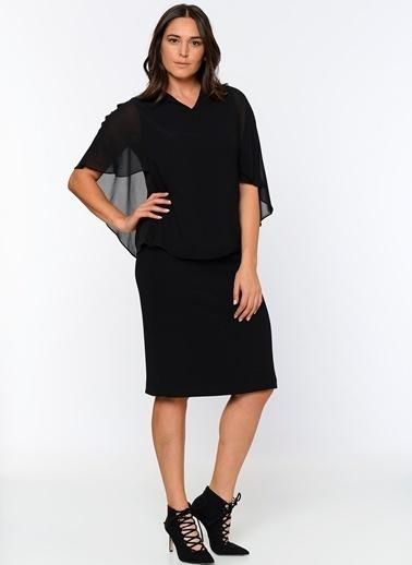 Butik Triko Kolları Şifon Detaylı Bluz Siyah